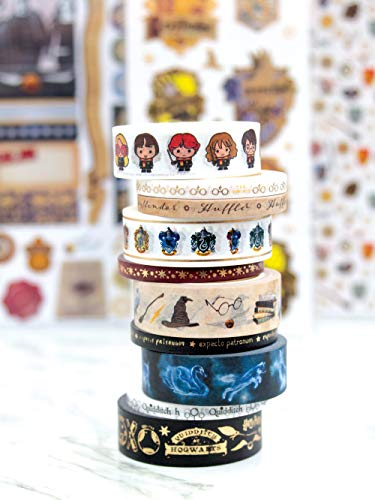 Paper House Productions SET0013 Harry Potter Washi Tape Bundle includes Five 15 mm Rolls Five 5 mm Rolls, Decorative Adhesive Tape -