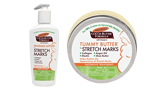 Palmer's Cocoa Butter Tummy Butter 4,4 oz. & Stretch Mark Massage Lotion 8.5 fl. oz. (Original Version)