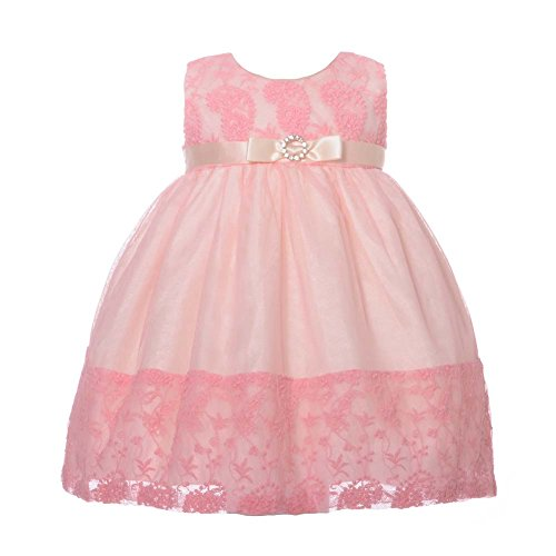 NancyAugust Floral Lace Combination Color Mesh Overlay Fancy Infant Dress-Pink-S
