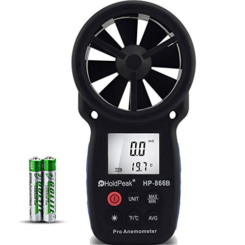 - HOLDPEAK 866B Digital Anemometer Handheld Wind Speed Meter for Measuring Wind Speed, Temperature and Wind Chill with Backlight and Max/Min
