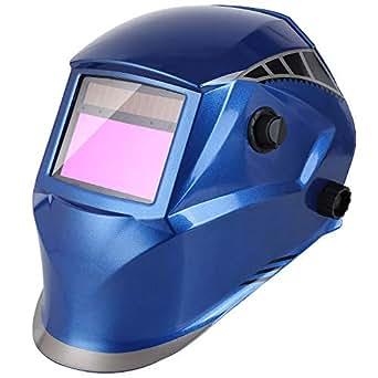Casco Soldadura de Oscurecimiento Automático FIXKIT con 4 Sensores, Careta Soldar con Gran Campo de Visión 100 * 56 mm, Protección UV: 16 Pasos (Oscuro: DIN 5-9,9-13), 5 Lentes de Recambio