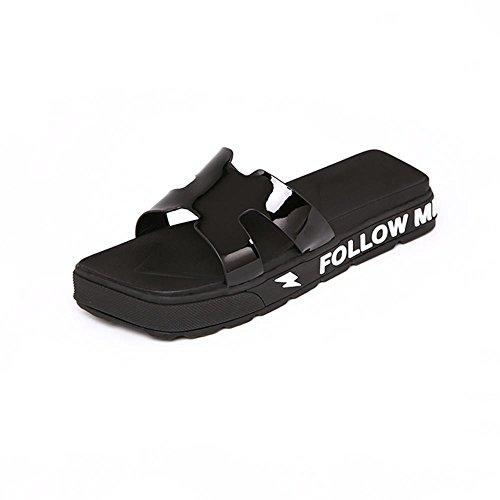 Heart&M La moda femenina talón plano suela plana sandalias de los deslizadores de las lentejuelas de color sólido Black
