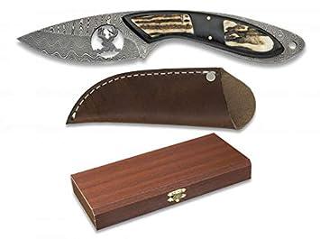 Damasco Cuchillo de Caza de Acero Deluxe Ciervo: Amazon.es ...