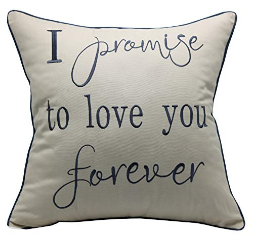 - YugTex Pillowcases I Promise to Love You Forever Embroidered Throw Pillow Cover,Valentine's Gift,Bridal Quote,Decorative Pillowcase,Wedding Anniversarygifts,(18