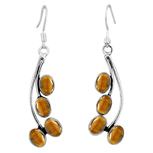 925 Silver Tiger (8.00ctw, Genuine Tiger Eye & 925 Silver Plated Dangle Earrings Made By Sterling Silver Jewelry)