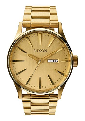 NIXON Sentry SS A377 - All Gold - 121M Water Resistant Men's Analog Classic Watch (42mm Watch Face, 23mm-20mm Stainless Steel Band) (Accessories Watch Nixon)