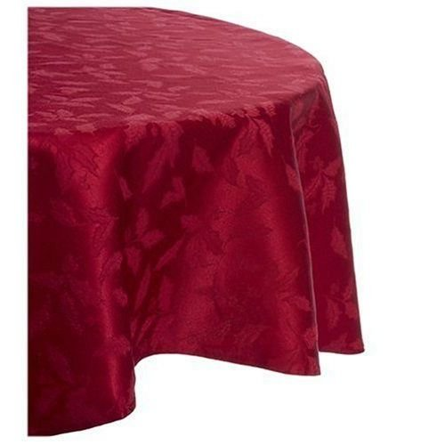 Lenox Holly Damask Tablecloth, 60 by 84-Inch Oval, Red