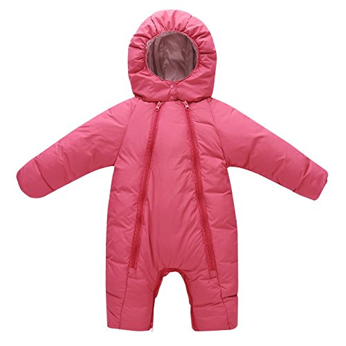 Aomige Kids Toddler Baby Winter Thicken Bunting Romper Snowsuit Pram Bunting Double Zipper Long Sleeve Jumpsuit For Girls and Boys (0-18 Month)