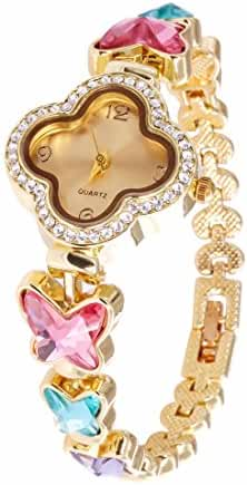VK Accessories Quartz Clover Watch Face Crystal Chain for Women,Girls Shiny Butterfly Color Crystal Wrist Watch Band Gold Tone