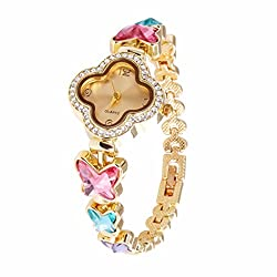 VK Accessories Quartz Clover Watch Face Crystal Chain for Women,Girls Shiny Butterfly Pink Crystal Wrist Watch Band Gold Tone