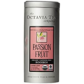 Octavia Tea Passion Fruit (Organic, Fair Trade Certified, Caffeine-Free Red Tea/Rooibos) Loose Tea, 2.82 Ounce Tin 4 Net weight (per tin): 2.12 ounce (60 g) Rich in antioxidants and anti-aging properties this soothing blend is excellent hot or iced Caffeine-free