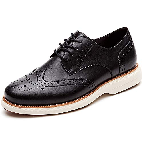 LAOKS Mens Oxford Shoes Wingtip Genuine Leather Lace up Dress Shoes, Black
