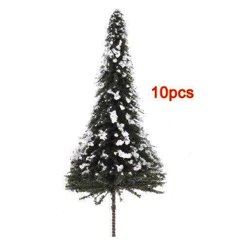 Fotcus - PHFU Wholesale 10pcs White Dark Green Landscape Model Cedar Trees 12cm---Scale:1:75