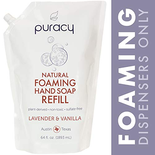 Puracy Natural Foaming Hand Soap Refill, Sulfate-Free Hand Wash, Lavender & Vanilla, 64-ounce