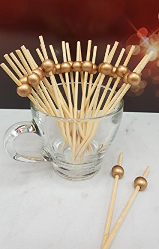 100 count 4.5'' Bamboo Bead Ball Pick (GOLD) by Happy Hour Supplies (Image #1)