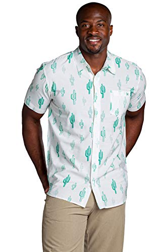 Men's White Cali Cactus Hawaiian Shirt - Desert Cactus Button Down Aloha Shirt