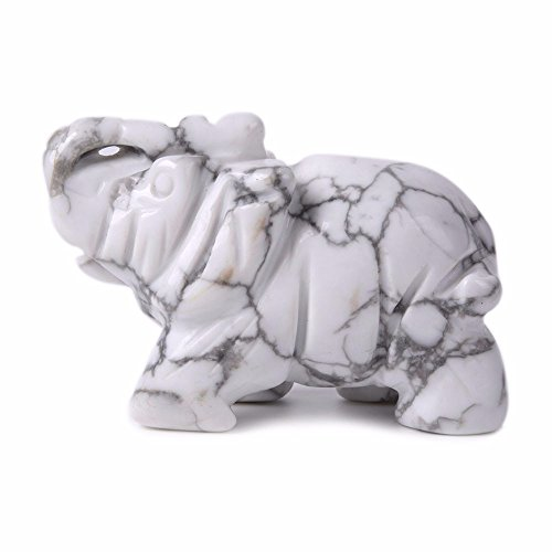 Carved Natural White Howlite Gemstone Elephant Healing Guardian Statue Figurine Crafts 2 (White Crystal Gemstone)