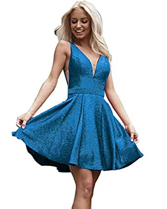 V Neck Short Homecoming Dresses Sparkly Aline Backless Prom Gowns for Juniors 2019 Blue 2