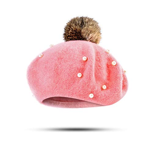 Children Beanies Hat Baby Girls Winter Berets Warm Pearl Pom Poms Hat Knitted Skullies Beanies Baby Hat