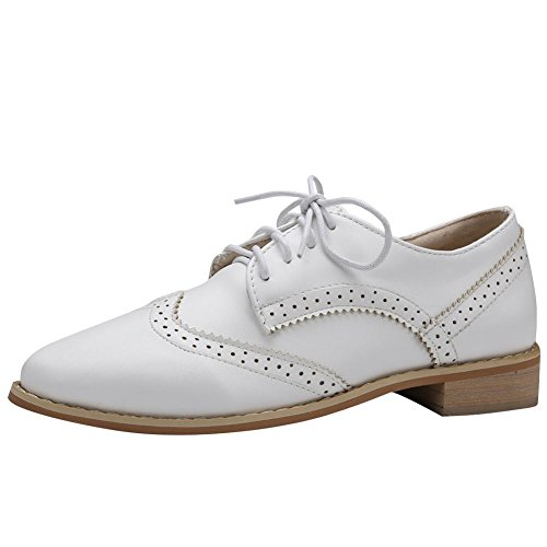 Carolbar Womens Lace Up Confort Casual Doux Talon Bas Oxfords Chaussures Blanc
