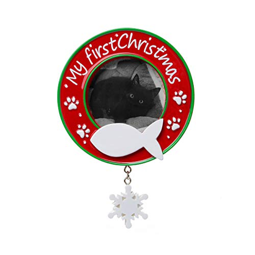 Personalized My First Christmas Cat Picture Photo Frame Tree Ornament 2019 - Kitty Breed Neutral Domestic Pet Paw Purr-Ever Year Display Memory Milestone Remembrance - Free Customization