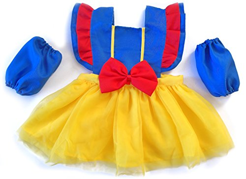 Costumes Dress 90's Up (IMC.Collab Girls Princess Dress Up Kitchen Apron Costume Oversleeves Set (90CM=35.43', Snow)