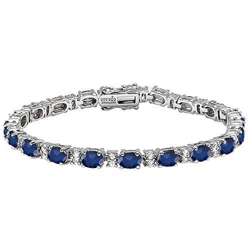 Dazzlingrock Collection 6X4 MM Each Oval Blue Sapphire & Round White Topaz Ladies Tennis Bracelet, Sterling Silver