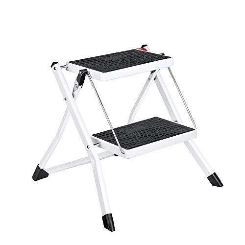 ACKO Step Stool Stepladders Lightweight White Folding Step Ladder with Handgrip Anti-Slip Sturdy and Wide Pedal Steel Ladder Mini-Stool 250lbs 2-Feet #49(WK2031D) - Ladder Steel