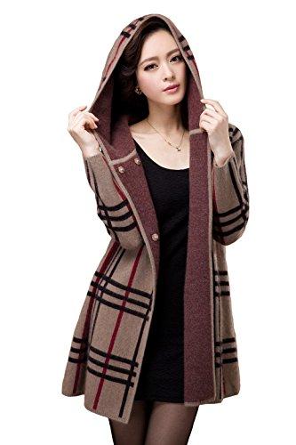 Camii Mia Women's Winter Long Mink Cashmere Coat Hoodie (Medium, Khaki)