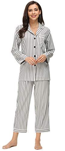 Kiddom Womens Classic Silk Satin Pajamas Set Loungewear Button Up Long Sleeve Sleepwear Collar Pockets Nighgowns Stripe Pjs
