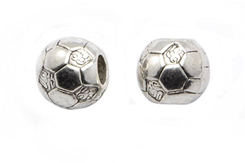 20pcs Soccer Ball Beads in Antique Silver, 11mm, European Style Large Hole Beads, Side Drilled, Football Beads, World Cup #SD-S6861