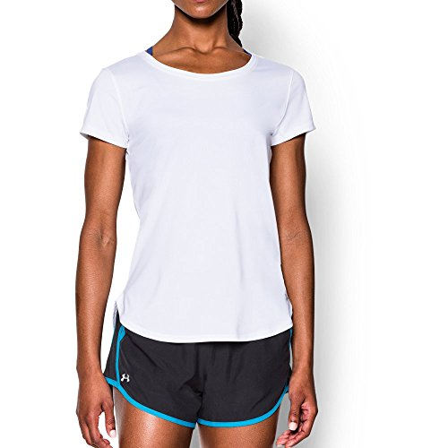 Under Armour Women's Fly-By 2.0 Tee, White/White, X-Small