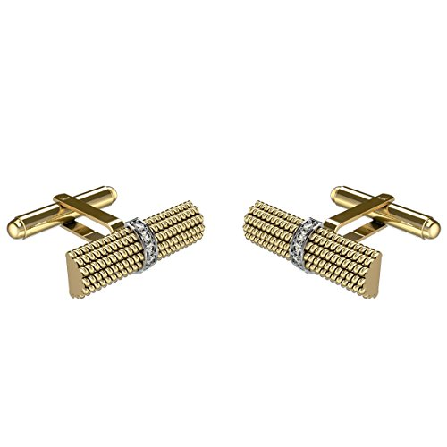 10k Yellow Gold Cufflinks (Yellow Gold Diamond Cufflinks For Men in 10K Gold and 0.250Ct Diamonds)