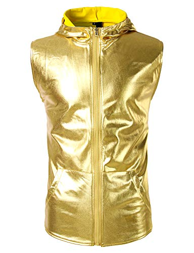 Gold Hipster - ZEROYAA Men's Metallic Hipster Zip Up Hooded Vest T Shirt with Kangaroo Pocket Z106 Gold Small