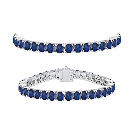 7ct Sapphire Bracelet - Dazzlingrock Collection 7.00 Carat (ctw) 14K White Gold Round Cut Real Blue Sapphire Ladies Tennis Bracelet 7 CT