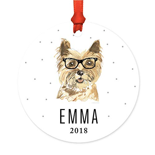 Art Cairn Dog Terrier (Andaz Press Personalized Preppy Dog Art Round Metal Christmas Ornament, Cairn Terrier in Black Glasses 2018, 1-Pack, Custom Birthday Present Ideas for Him Her Dog Lover, Includes Ribbon and Gift Bag)