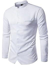 Mandarin Botton Down Collar Soild Color Causal Shirts