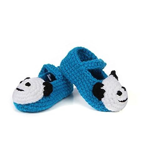 Zorux - Correa de hebilla Panda Infantil Zapatos de crochet Botines Bebé Niños Zapatos Fotografía Prop 10 cm azul azul: Amazon.es: Bebé
