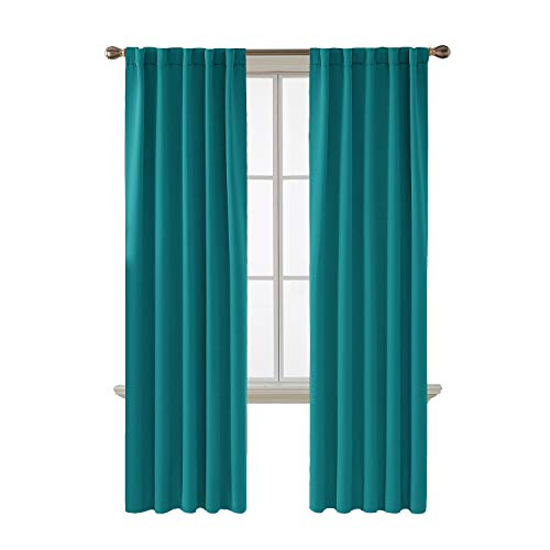 rtains Back Tab and Rod Pocket Curtains 2 Panels (42W x 84L Inch, Turquoise) ()