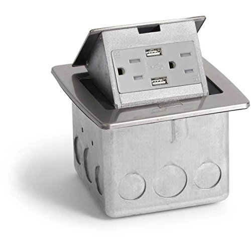 Lew Electric PUFP-CT-SS-2USB Countertop Box, Pop Up w/15A & Single Power/2 USB Receptacle - Stainless Steel (15a Single)