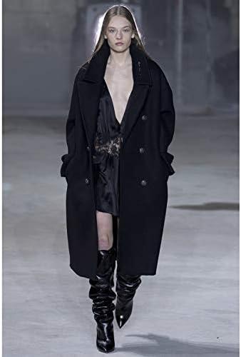 Women Simple Oversized Double Breasted Pocket Wool Long Coat Female Outerwear