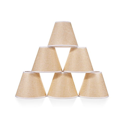 Chende Set of 6 Small Chandelier Lamp Shades, Natural Linen Lamp Shades for Dining Room, Clip on Chandelier Table Lamp with Vintage Rustic Style, 3'' X 6'' X 5''(Brown) by Chende