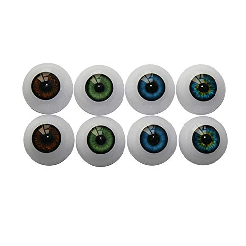 UUsave 4 Pairs of 4 Colors 22mm Half Round Realistic Acrylic Eyes for Halloween Props, Masks, Dolls or Bears Craft Plastic Eyeballs (22mm) ()