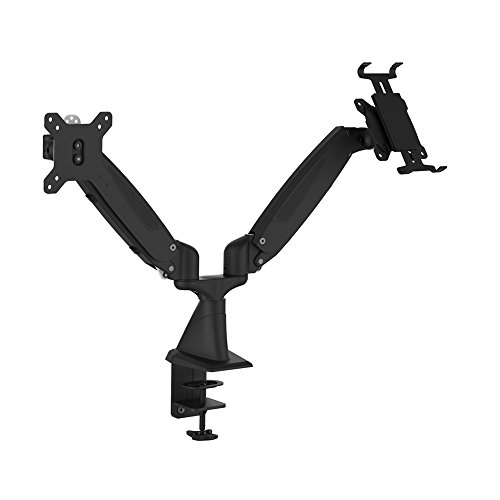 OLLO: Twin desk mounted gas-spring aluminum monitor mounts with 15''extension and iPad holder., 13.8'' vertical lift, 180) rotation (DS-2P) by OLLO