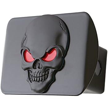 "100% Metal Skull 3D Emblem Trailer Hitch Cover Fits 2"" Receivers (Black Red on Black)"