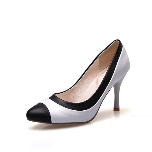 pointed enfiler Blanc assorties balamasa toe à cuir shoes pumps Mesdames Imitation couleurs 5Hq81w