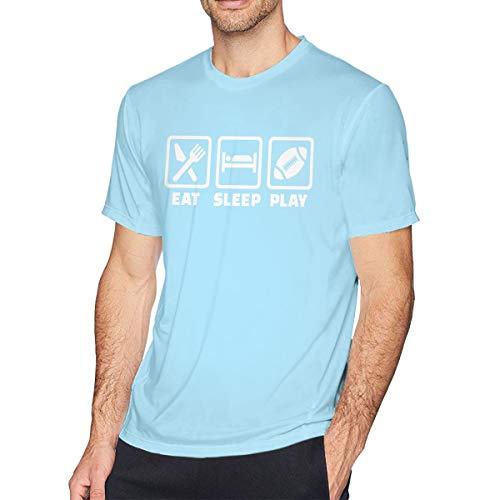 Sky Blue Football T-shirt - Custom Mens Tees Top Eat Sleep Football T-Shirt Sky Blue