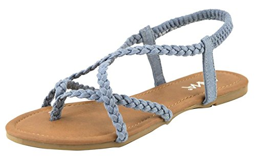 - ANNA Women's Razzi-11 Braided Strappy Flat Y-Strap Flip Flop Sandal,Denim Fabric,7.5