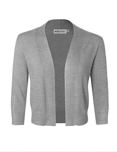 MAYSIX APPAREL 3/4 Sleeve Solid Open Bolero Cropped Cardigan For Women HEATHERGRAY L