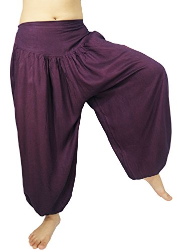 Lovely Creations Women's loose Harem Aladdin Yoga Elastic Waist Casual Pants (JR Plum) (Aladdin Harem Girls)
